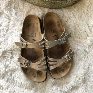 Birkis Birkenstock 2 Strap Metallic Bling Sandals